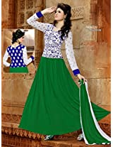 New Fancy GreenandWhite Embroidered Anarkali Suit uf11006