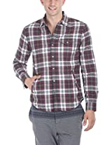 Zobello Men's Knitted Lining Lumberjack Shirt(11073C_White/Bottle Green Check_XX-Large)