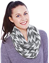 Simplicity Accessories Nautical Lightweight Chevron Infinity Scarf, Grey