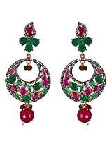 Be You Gorgeous Multicolor Diamond Look Rhodium Plated Brass Dangle Earring for Women