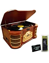 Pyle Turntable Record Player Cassette and Pre-Amplifier Package - PTCDS2UI Classical Turntable with AM/FM Radio/ CD/ Cassette/ USB Recording & iPod Player - PP999 Phono Turntable Pre-Amplifier