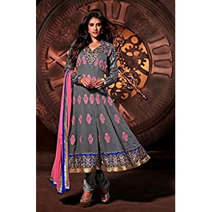 Ethnic Fire Embroidered Anarkali Suit Set, Grey and Blue and Pink