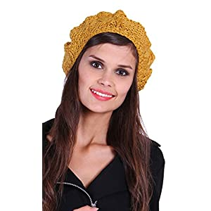 The Gud Look 100% Acrylic Lisa Solid Beanie - Mustard Free Size