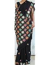 Handembroidered Phulkari Chinon Chiffon Sari- Black