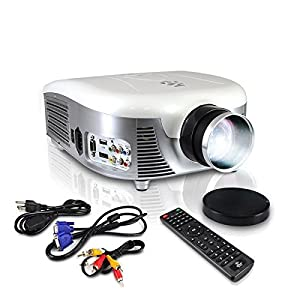 Pyle LED Widescreen Projector, 1080p HD Support, Up to 140-Inch Display, Built-In Speakers, Zoom Screen Size Adjustable, HDMI/USB/VGA/YpBpr/RCA Inputs