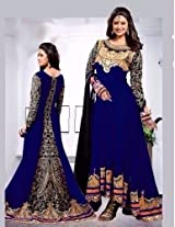 Shree Fashion Woman's Georgette With Dupatta [Shree (89) Blue_Blue]