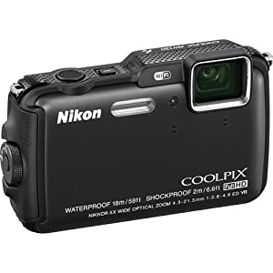 Nikon Coolpix AW120 16MP Point and Shoot Camera (Black) with 5x Optical Zoom, 8 GB Card and Camera Case