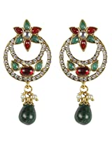 Beautiful Gold Plated maroon-Green Crystal Made Dangle & Drop Design Earring for Women Jewelry