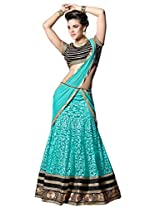 Vibes Fashionable Net Brasso Unstiched Party Wear Lehenga Choli,Free Size,Blue,L3-9003