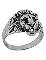 ShalinIndia Silver Charm Lion Head Ring For Men 15.4 MM Diameter