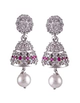 Silver Prince 8.3 Grm Pearl, White Cubic Zirconia, Pink Cubic Zirconia Bestseller 925 Silver Earrings
