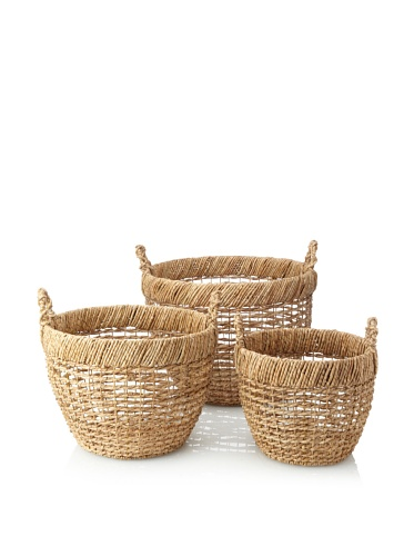Wald Imports Set of 3 Round Open-Weave Seagrass Baskets (Natural)