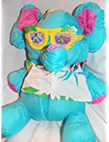 "1987 Fisher Price Wild Puffalumps 16"" Blue Elephant Puffalump With Sunglasses And Flowered Shirt"