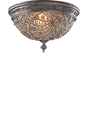 ELK Lighting Renaissance 4-Light Flush-Mount Ceiling Fixture with Crystal Accents, Sunset Silver