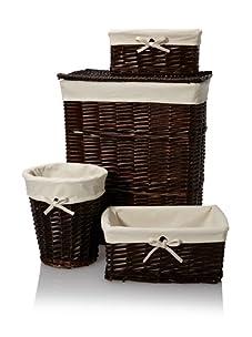 Creative Bath Wickerworks 4-Piece Hamper/Storage Set (Walnut)