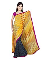 Sonal Trendz Blue & Yellow Color Printed Georgette Saree with Blouse