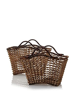 Padma's Plantation Set of 2 Bali Nesting Baskets with Rattan Handles (Natural/Espresso)