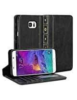 Galaxy Note 5 Case, GMYLE Book Case Vintage for Galaxy Note 5 V SM-N920 - Black PU Leather Stand Case Cover