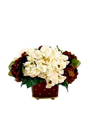 Creative Displays Cream & Burgundy Hydrangea in Tall Planter