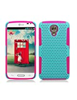 Aimo Wireless Hybrid 2 in 1 Protective Case for LG LS740 Volt Grip - Retail Packaging - Hot Pink/Lime