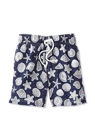 Azul Swimwear Boy's Shells Boardshorts (Navy)