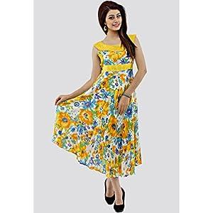 Sleeve Less Printed Yellow Dress