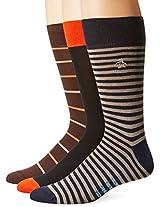 Original Penguin Men's Three-Pack Solid and Stripes Crew Socks
