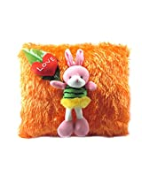 Tickles Orange Cushion With Rabbit and Heart Stuffed Soft Plush Toy Love Girl 30 cm