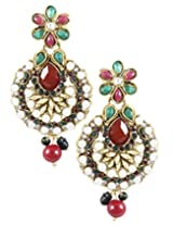 Karatcart 22K Goldplated Multi Stone Dangle Earrings for Women.