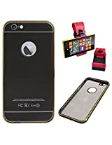 DMG Metal Arc Frame with PU Leather Back Bumper Dual Protection Cover Case for Apple iPhone 6 Plus (Black) + Car Steering Holder