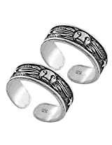 925 Silver Star Engraving Silver Toe Ring Set ( Pair ) For Women