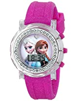 Disney Kids' FZN3580 Frozen Anna and Elsa Flashing-Dial Watch with Glitter Pink Rubber Band