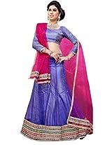 Suchi Fashion Blue and Pink Heavy Border and Diamond Work Net Semi Stitched Lehenga