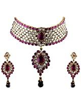 Vivanta Purple Gold Plated Necklace And Earrings Set For Women (VD-N106)