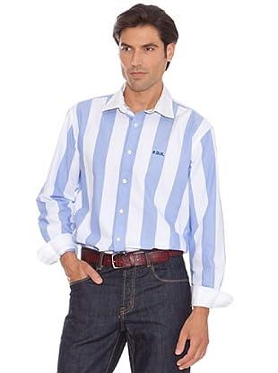 Pedro Del Hierro Camisa Rayas Bordado (Azul / Blanco)
