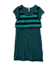 Hype Girl's Tiny Stripe Dress (Jade/Black)