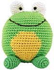 Dandelion Hand Crocheted Roly Poly Rattle Ball, Frog