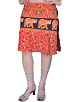 Exotic India Scarlet Wrap-around Mini-Skirt with Printed Elephants and - Scarlet