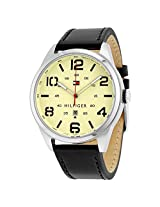 TOMMY HILFIGER Conner Quartz Cream Dial Black Leather Strap Men's Watch - TH1791158J