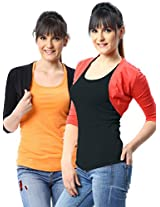 ESPRESSO WOMEN PACK OF 2 SHRUGS -BLACK / LT RED-XL