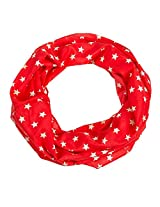 Star Print Infinity Scarf (Red)