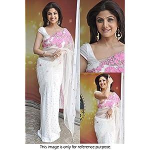 Ninecolours Shilpa Shetty Net Saree - White & Pink