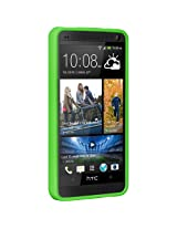 Amzer 95670 TPU PolyCarbonate Snap on Hybrid Case - Clear Back/ Solid Green for HTC one