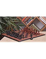 Chessbazaar Combo Of The Columbian Chess Pieces In Ebony/Bud Rose Wood & Black Anigre Red Ash Burl With Moulded Edges Board