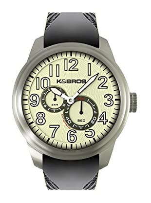 K&BROS 9460-4 / Reloj de Caballero  con correa de caucho Negro / Beige