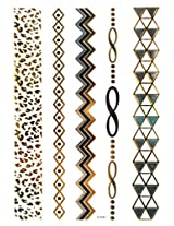 Spestyle New Design hot selling Golden Gold & Silver & Black Metallic Temporary Tattoo stickers Jewelry fashion design