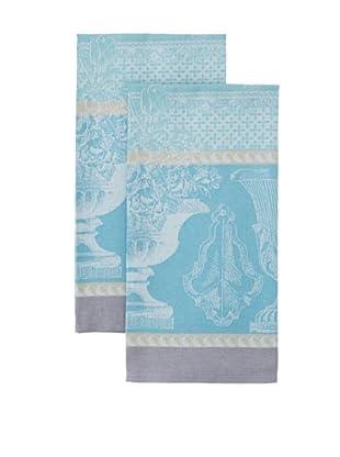 Garnier-Thiebaut Set of 2 Vase De Jardin Kitchen Towels, Aqua