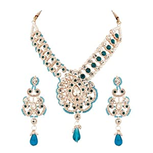 Voylla Patwa Choker Set Encrusted with Blue, White Crystals, Blue Beads Border