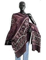 DollsofIndia Dark Brown and Light Brown Batik Print Cotton Stole - Cotton - Brown
