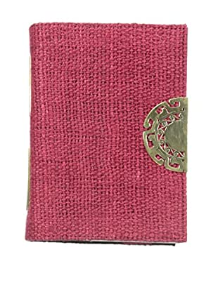 Marina Vaptzarov Hemp Cover Journal with Hand-Carved Brass Clasp, Fuchsia